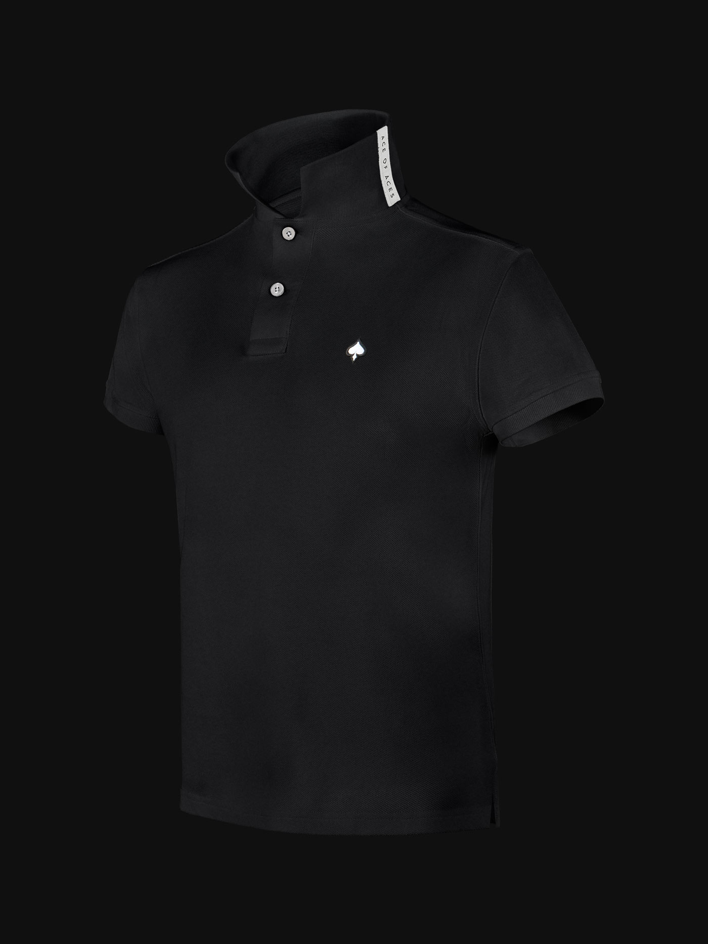 The luxury Black Ace Man Polo Shirt side view