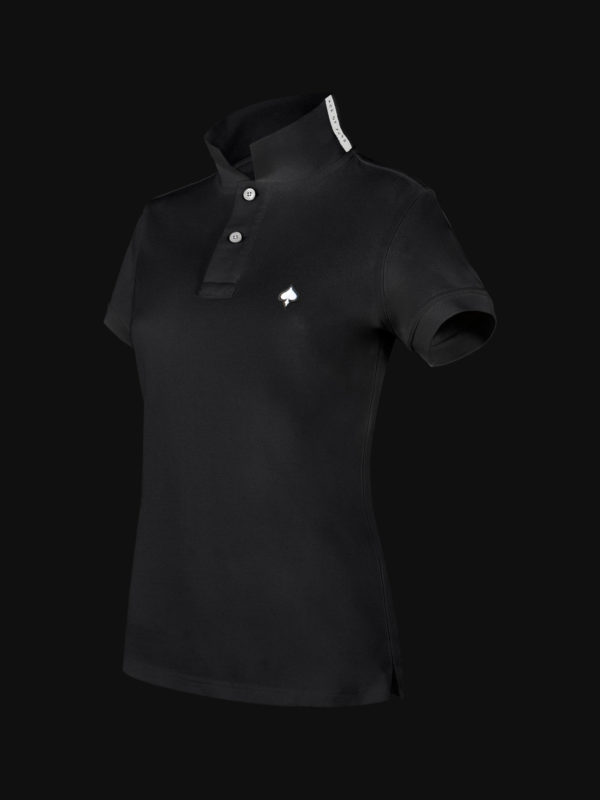 The luxury Black Ace Woman Polo Shirt side view