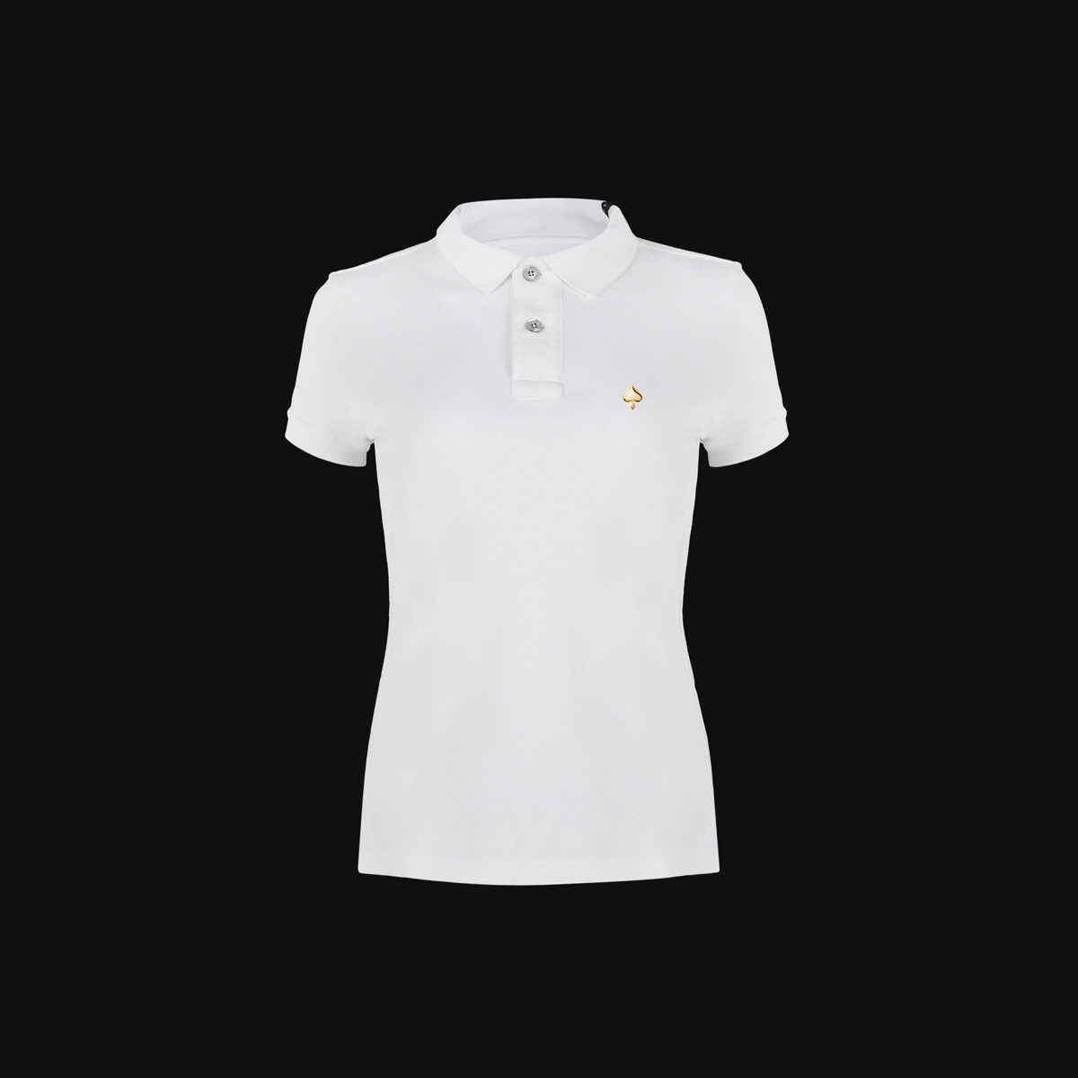 The Exclusive White Ace polo with gold for woman