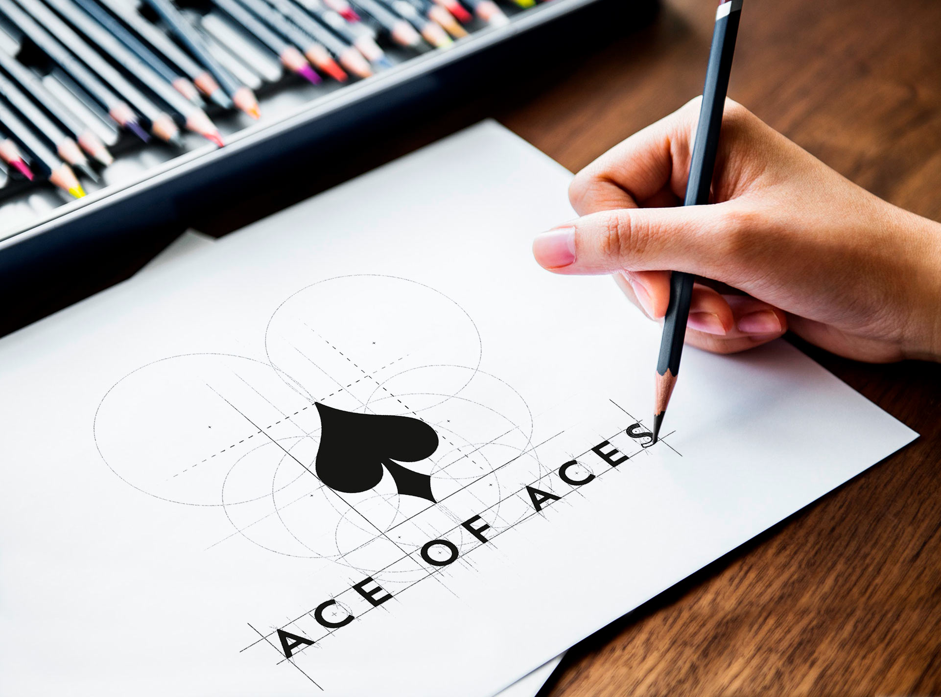 The 1 of Aces logo sketched